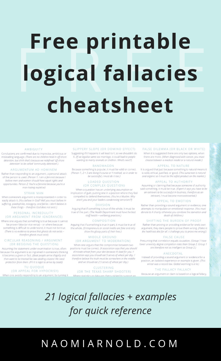 Get The Free A4 Pdf Printable Logical Fallacies Cheatsheet Today For Easy And Quick Reference Logical Fallacies Fallacy Examples Ap Language And Composition