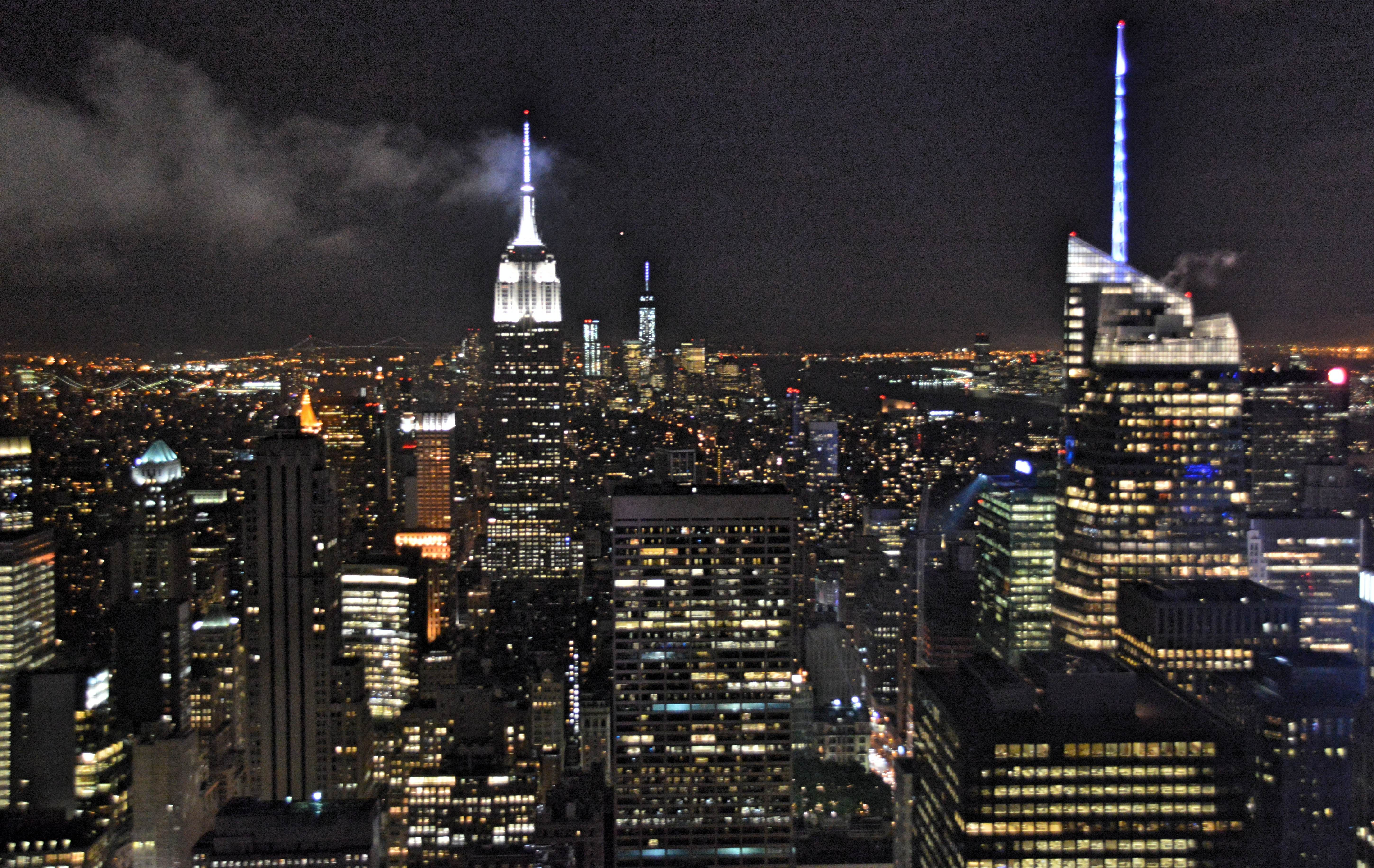 New York City Night View From Rockefeller Center Roof Top
