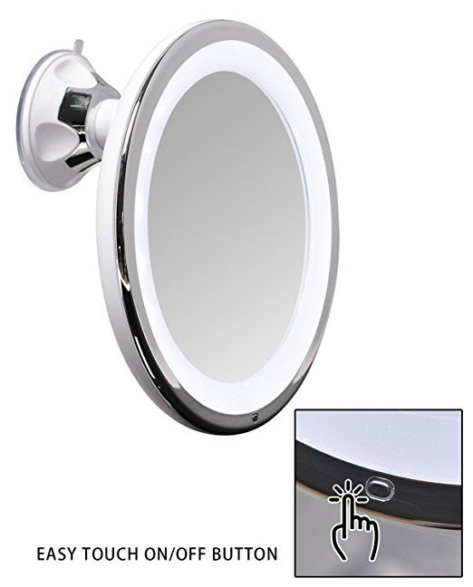 Amazon Com Sanheshun 7x Magnifying Lighted Travel Makeup Mirror Touch Activated Locking Suction Mount Travel Makeup Mirror Makeup Mirror Mirror