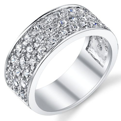 Sterling Silver Men S Wedding Band Engagement Ring With Cubic Zirconia Cz 9mm 3 Row Size 7