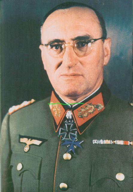 ✠ Ferdinand Schörner (12 June 1892 - 2 July 1973) RK 20.04.1941 Generalmajor Kdr 6. Geb.Div 17.02.1944 [398. EL] General der Gebirgstruppe K.G. XXXX. Pz.K. 28.08.1944 [93. Sw] Generaloberst OB HGr. Nord 01.01.1945 [23. Br] Generaloberst OB HGr. Nord Plm: 05.12.1917 Lt d Res (Kp. Chef) (bayr. Infanterie-Leib-Rgt)
