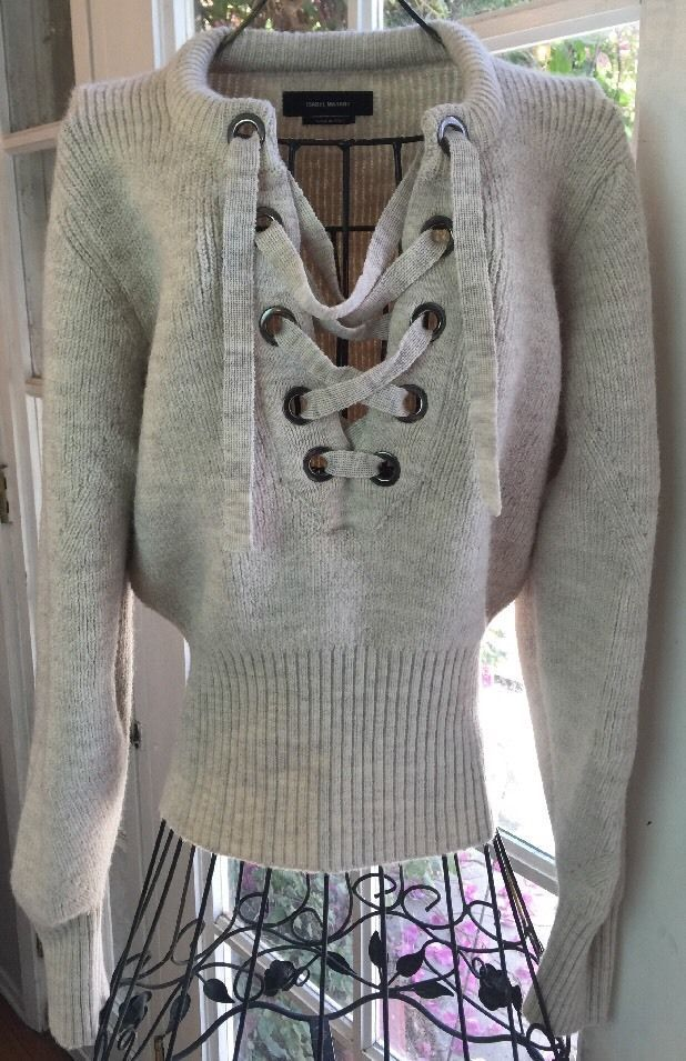 7b1b1f8c3f ISABEL MARANT Charley Lace-Up Jumper Sweater Ecru Size 36 Runway Collection  Wool  IsabelMarant  Jumper