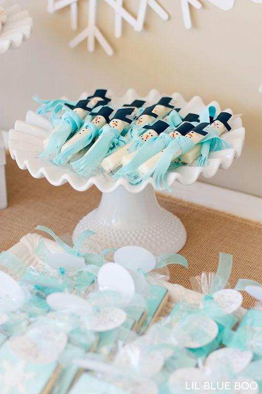 Snowman String Cheese DIY for a Frozen Winter Birthday Party via