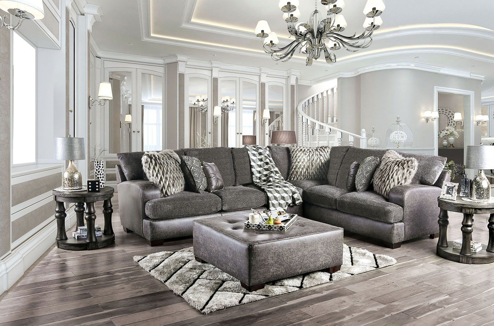 Gellhorn Gray Sectional Sofa Sm5202gy Sect Furniture Of America Sectional Sofas In 2020 Living Room Decor Gray Luxury Living Room Leather Couches Living Room #two #sectionals #in #living #room