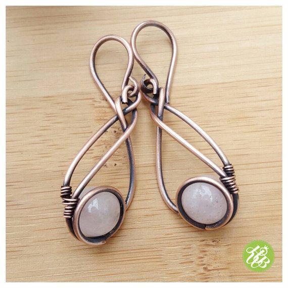 Copper rose quartz earring, wire wrapped jewelry rose quartz, copper ...