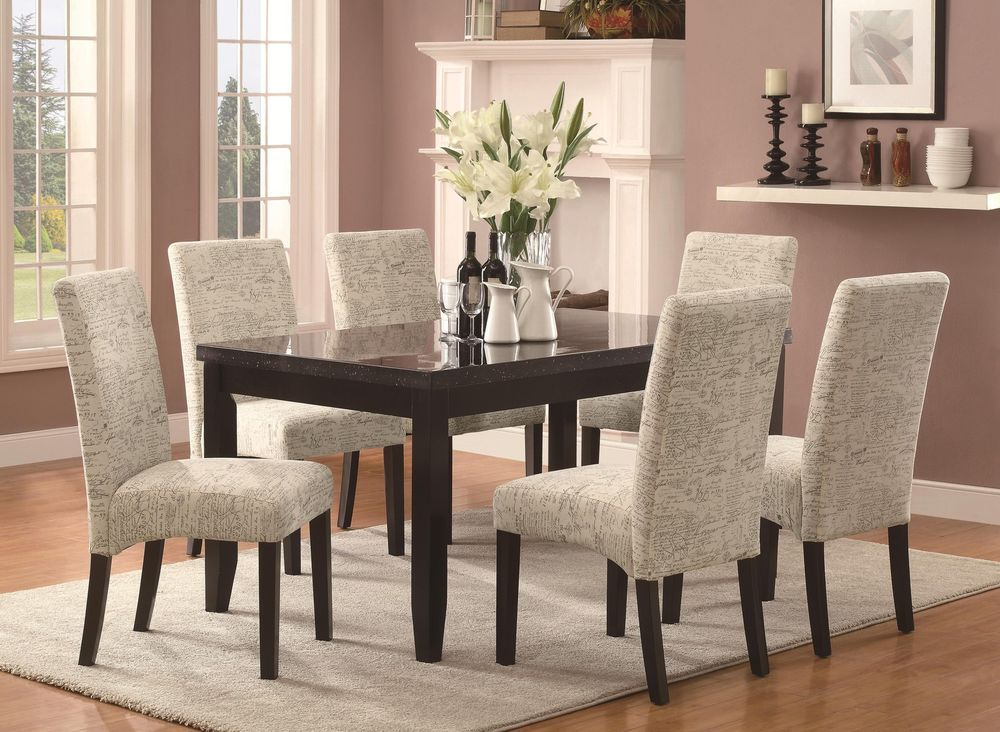 Newbridge 7 Piece Cappuccino Dining Table Set With Script Pattern Fabric Chairs Dining Furniture Makeover Dining Room Chairs Dining Chairs