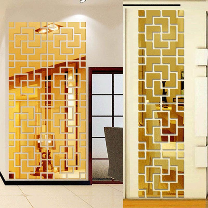Diy home decoration tv wall stick decoration mirror wall stickers 3D ...