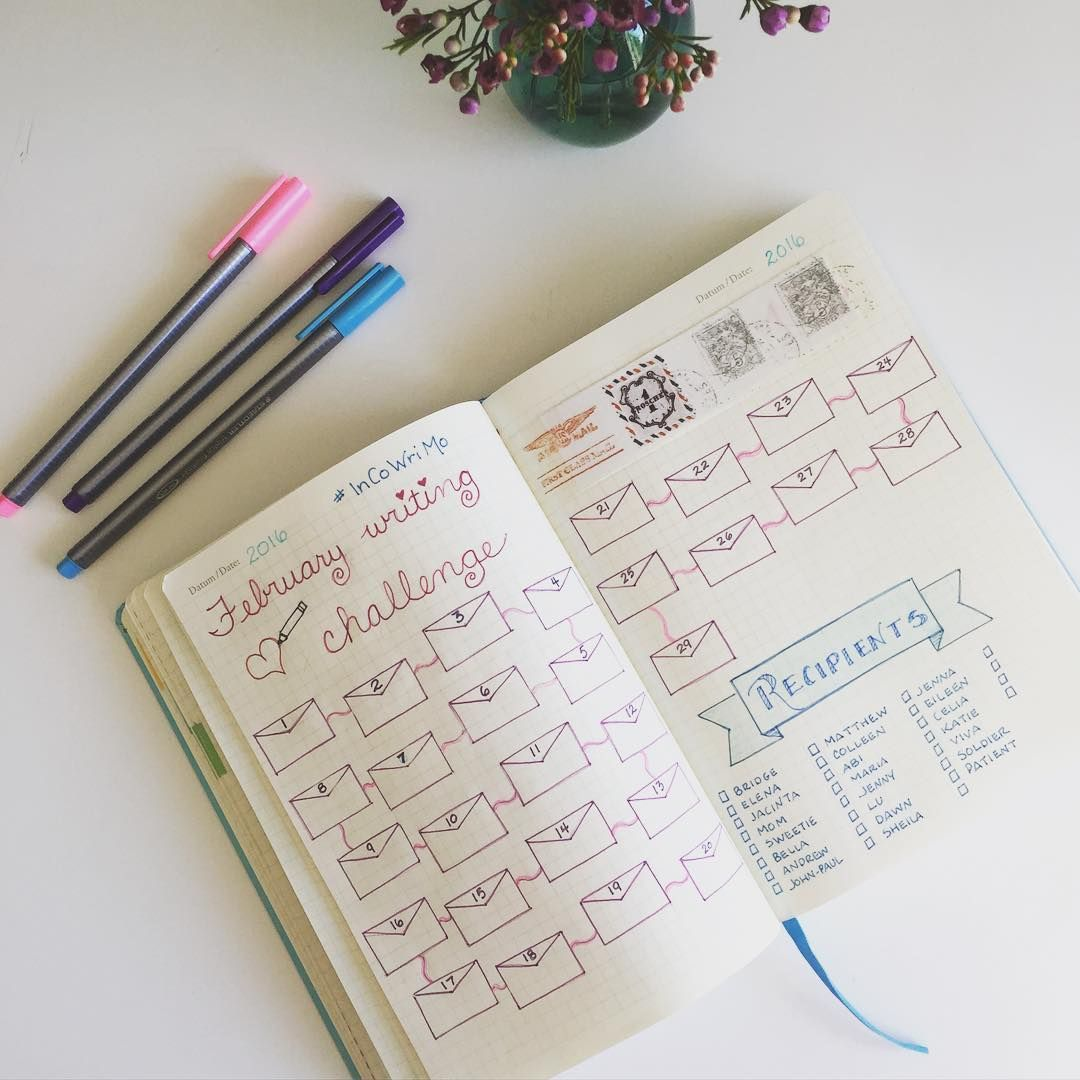 My #bulletjournal is ready to keep track of the #incowrimo letter writing…