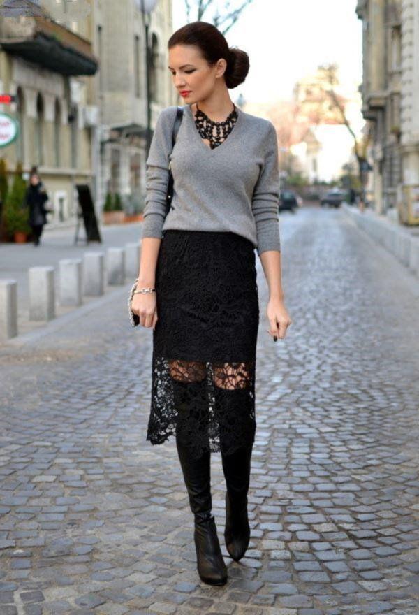 Кружевная черная юбка миди