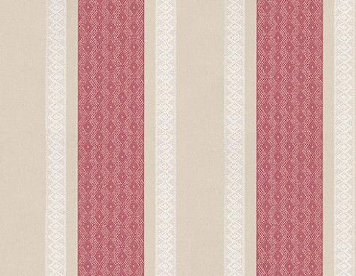 Chantilly Stripe (W6595-05) - Osborne & Little Wallpapers - An all over striped design, featuring lace effect detailing. Shown here in red, linen and white. Other colourways are available. Please request a sample for a true colour match. Free pattern match product. Wide width