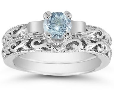 Applesofgold.com   1 Carat Art Deco Aquamarine Bridal Ring Set, 14K White  Gold