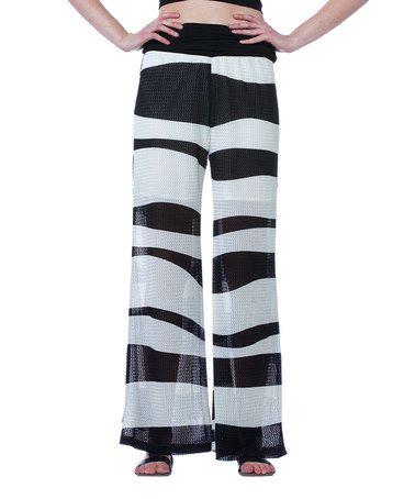 Loving this Black & White Stripe Mesh Palazzo Pants on #zulily! #zulilyfinds