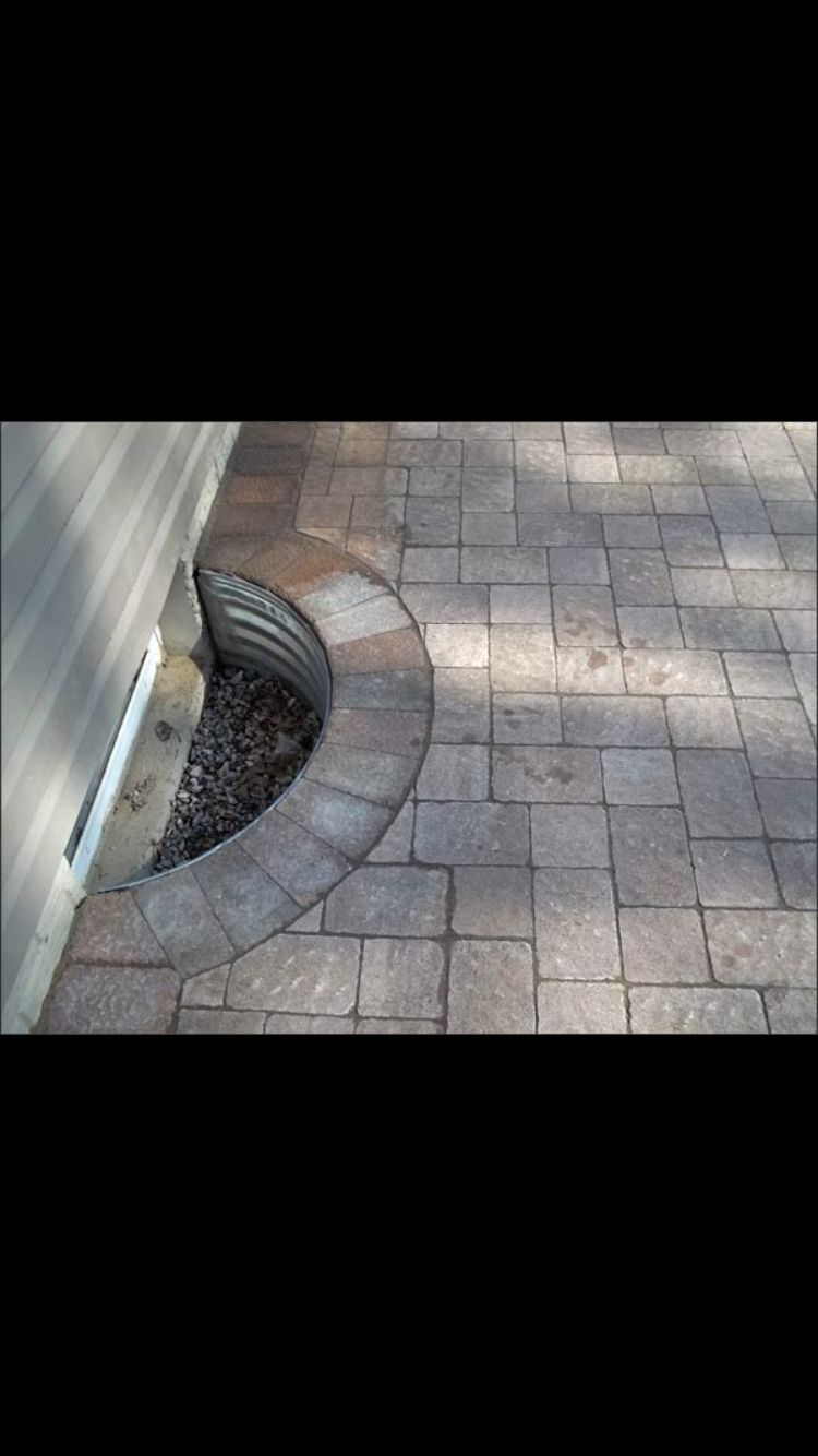 Basement window coverings outside  window well paver idea  for the home  pinterest  window well