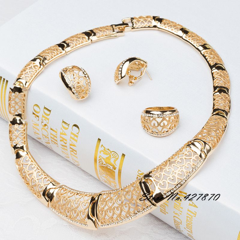 New Arrival African Costume Jewelry Sets 18K Gold Plated Fashion Wedding Women Bridal Accessories Nigerian Necklace