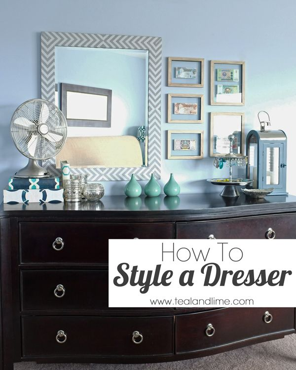 How To Style A Long Low Dresser Teal And Lime Dresser Decor