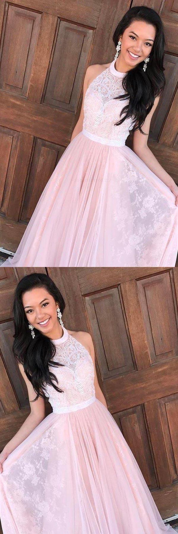 Cheap fancy long prom dresses pink prom dresses aline prom