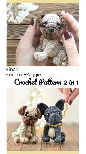 Mini amigurumi dogs CROCHET PATTERN set PDF, Frenc