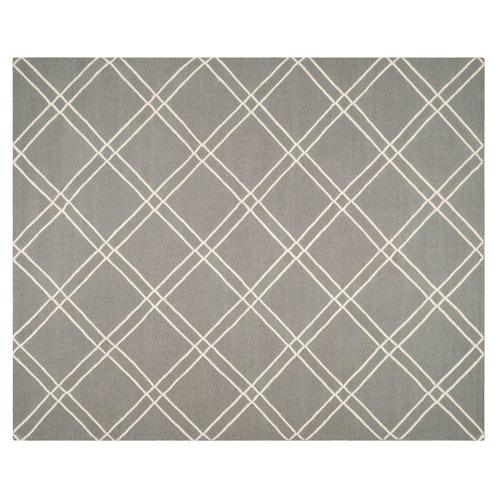 Safavieh Dhurries Crossnet Handwoven Flatweave Wool Rug, Grey