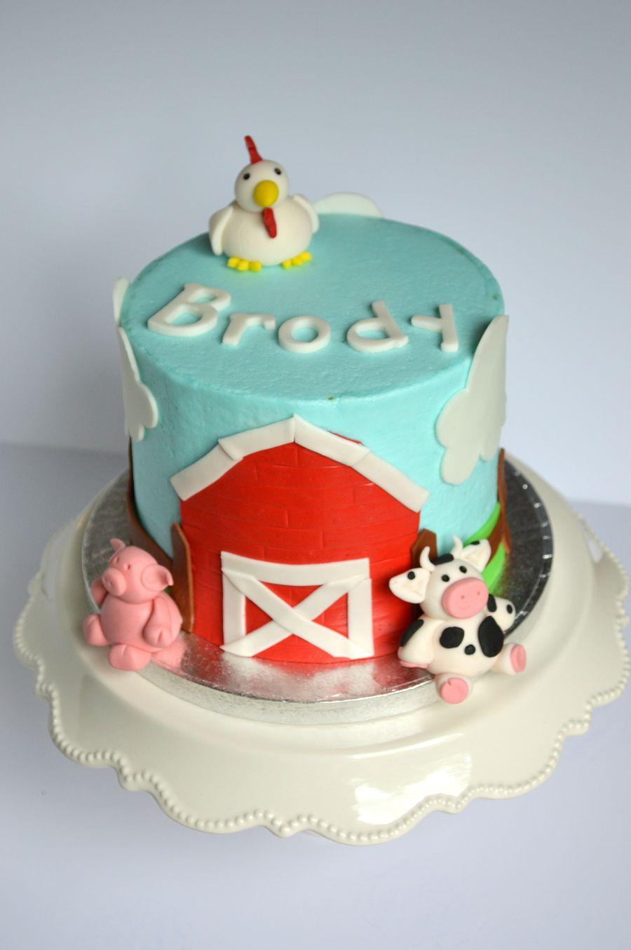 Farm Smash Cake With Images Farm Birthday Cakes Boys 1st