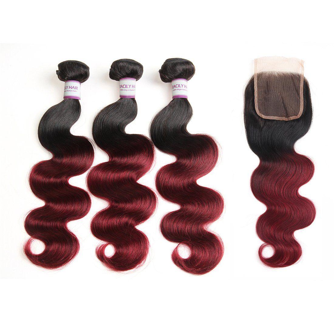 Racily Hair Ombre Brazilian Hair Body Wave 3 Bundles 1b Burgundy