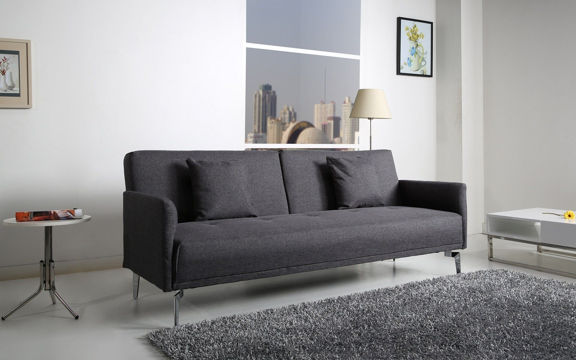 Helsinki Schlafcouch Stoff dunkelgrau Schlaffunktion Sofa: Amazon ...
