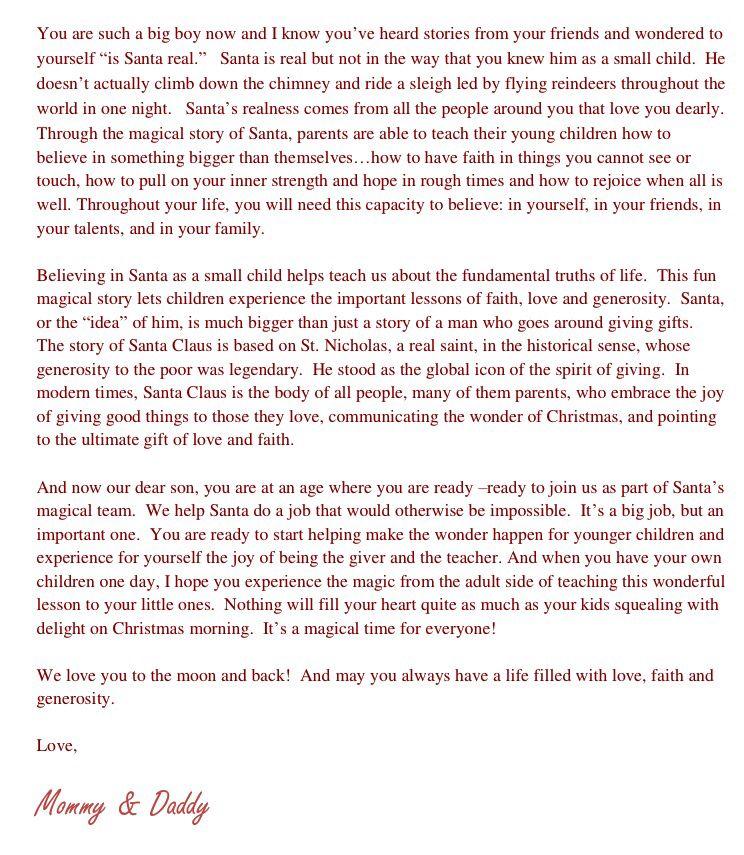 Christmas letter explaining Santa Claus to older children