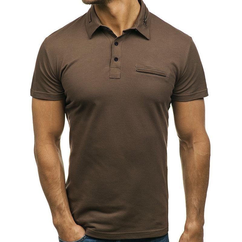 04fa3eb109 Solid Color Zipper Decorative Golf Shirt in 2019