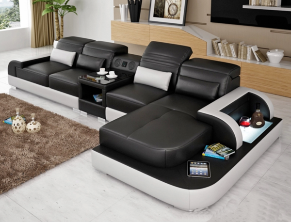 Contemporary Living Room Italian Leather Sectional Sofa Leather Sectional Sofa Leather Sectional Genuine Leather Sectional