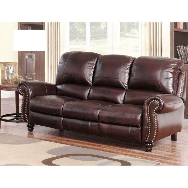 Abbyson Madison Premium Grade Leather Pushback Reclining Sofa