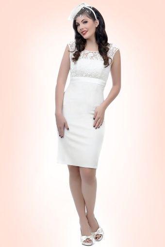 50s White Lace Bow Pencil Dress   Pinterest   Brautmode und Braut