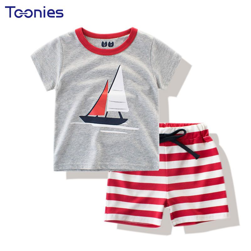 >> Click to Buy << Kids Active Suit New Summer Cotton Children's Clothing Sets T-shirt+shorts Two Piece Suits Lovely Cartoon Pattern Striped Print #Affiliate