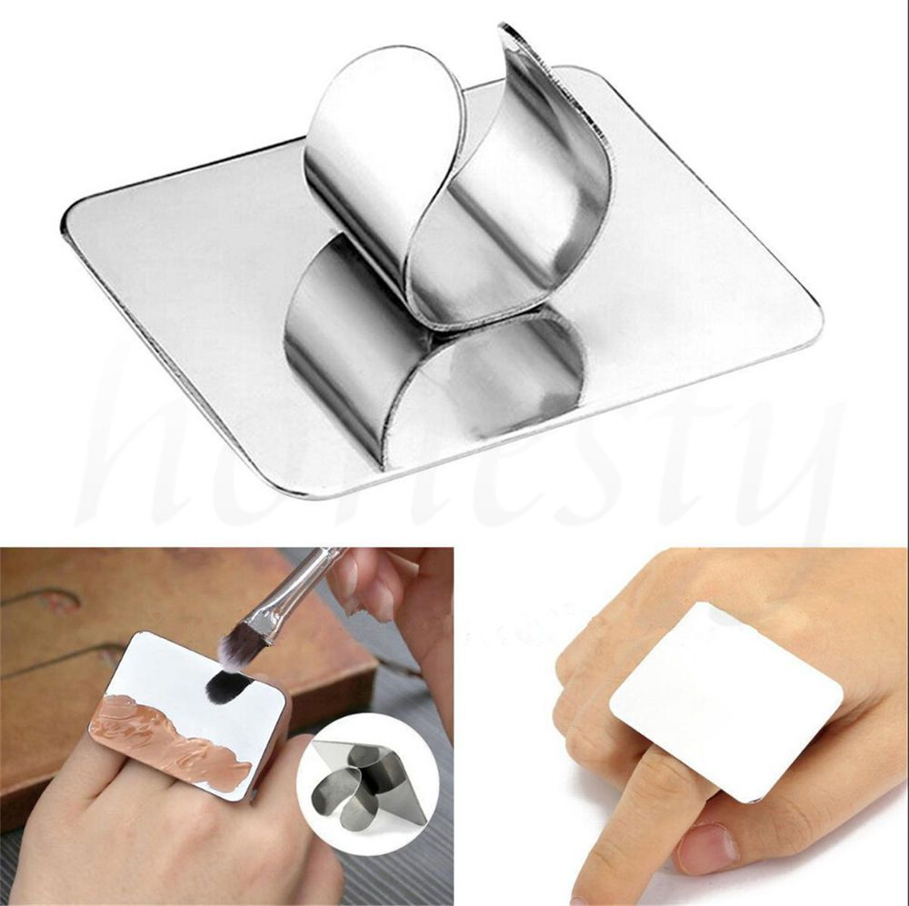 Details about Mini Finger Nail Art Mixing Palette Accessory For Free Hand Manicure Ring Tools