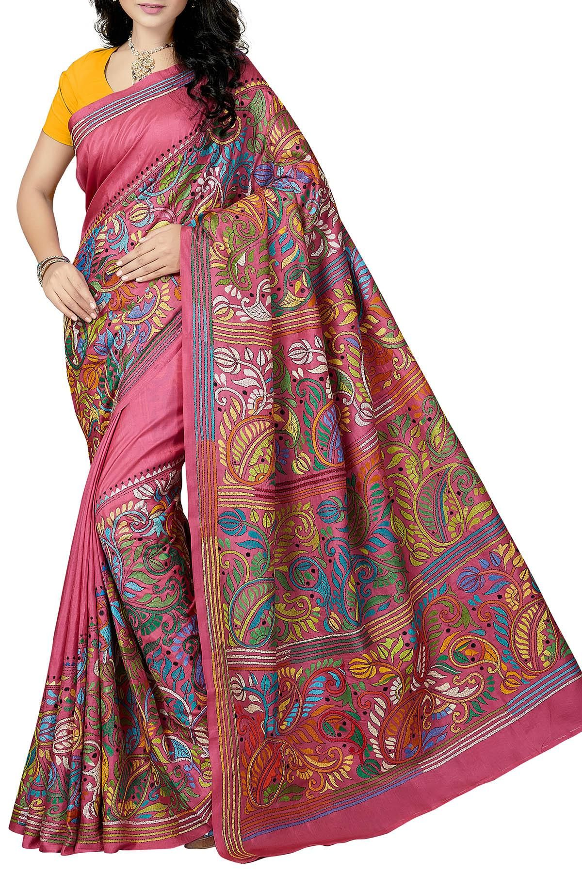 83f88d4f0de Rose Pink   Multi-Colored Floral Paisley Nakshi Kantha Soft Silk Saree