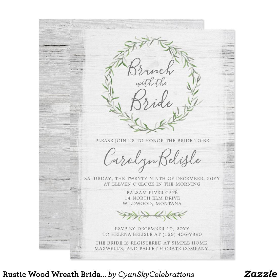 Rustic Wood Wreath Bridal Shower Brunch Invitation by ...