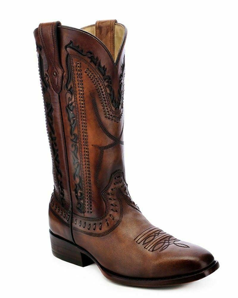 Details about  /Mens Western Cowboy Boots Genuine Leather Crocodile Pattern Cognac Square Botas