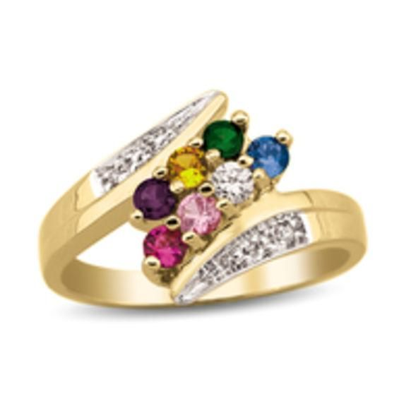 Zales Mothers Birthstone and Diamond Accent Bypass Ring (6 Stones) dMAg6mO62