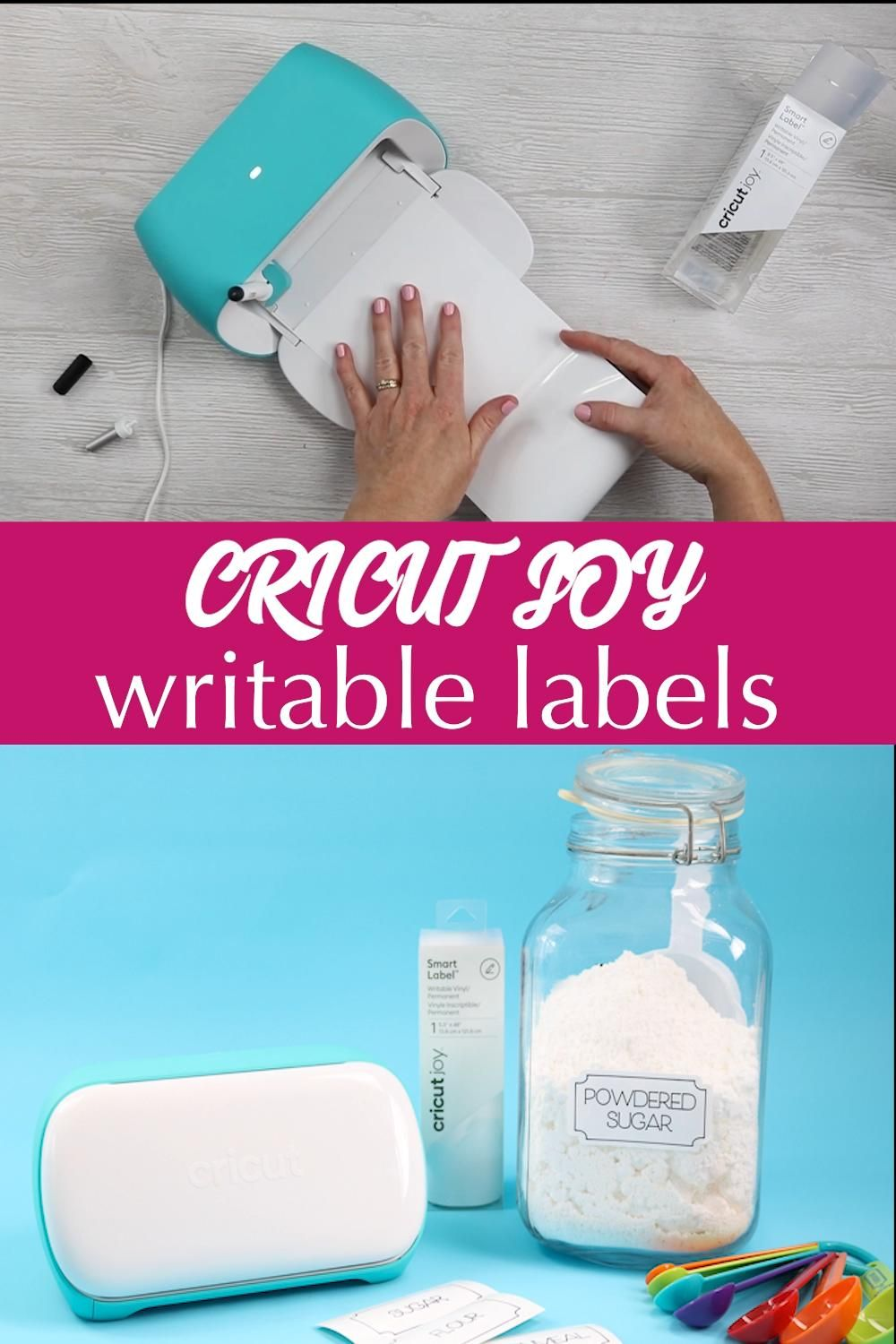 Learn how to use the writable labels on the Cricut Joy to organize your home! #labels #organization #organize #cricut #cricutcreated #cricutjoy