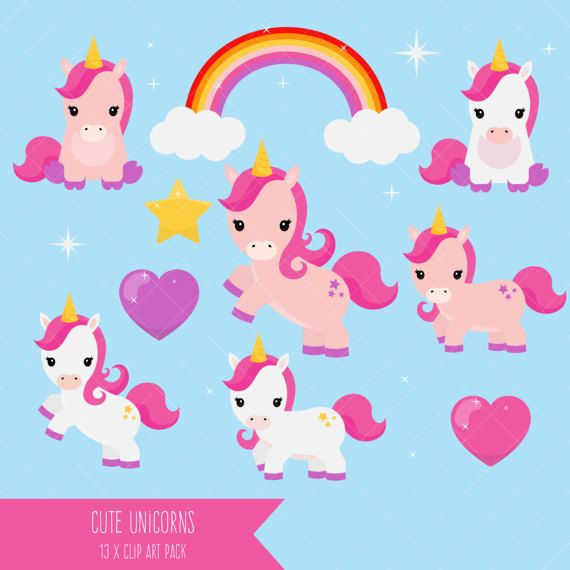 Unicorn Clipart / Cute Unicorn Clip Art / Baby Unicorns | Imágenes ...