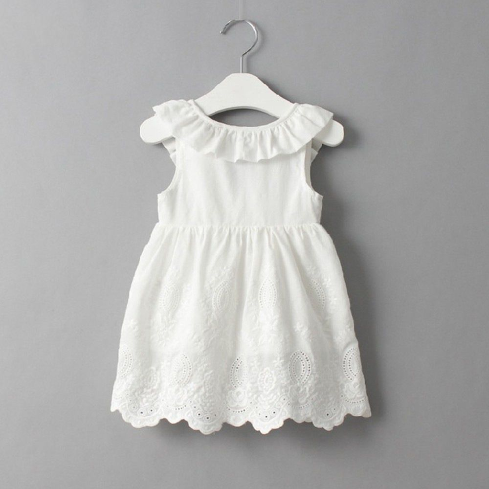 Girls White Hollow Out Ruffles Sleeves Backless Dress Kids Summer Dresses Girls Dresses Summer Girls White Dress [ 1000 x 1000 Pixel ]