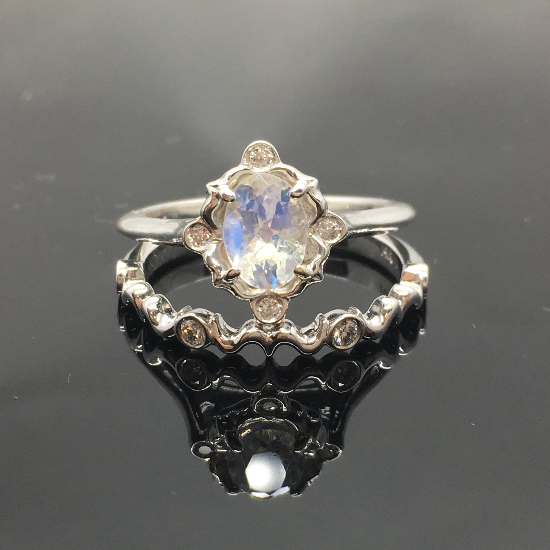 Moonstone Engagement Ring Set 0.925 Sterling Silver