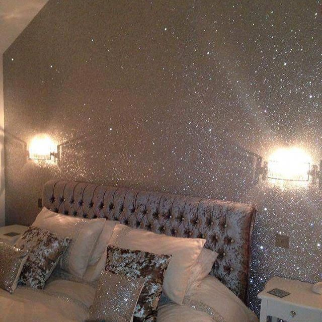 The Glittery World Of Silver Bedroom Ideas: Silver Glitter Wall #glitterwall #glitterwallpaper
