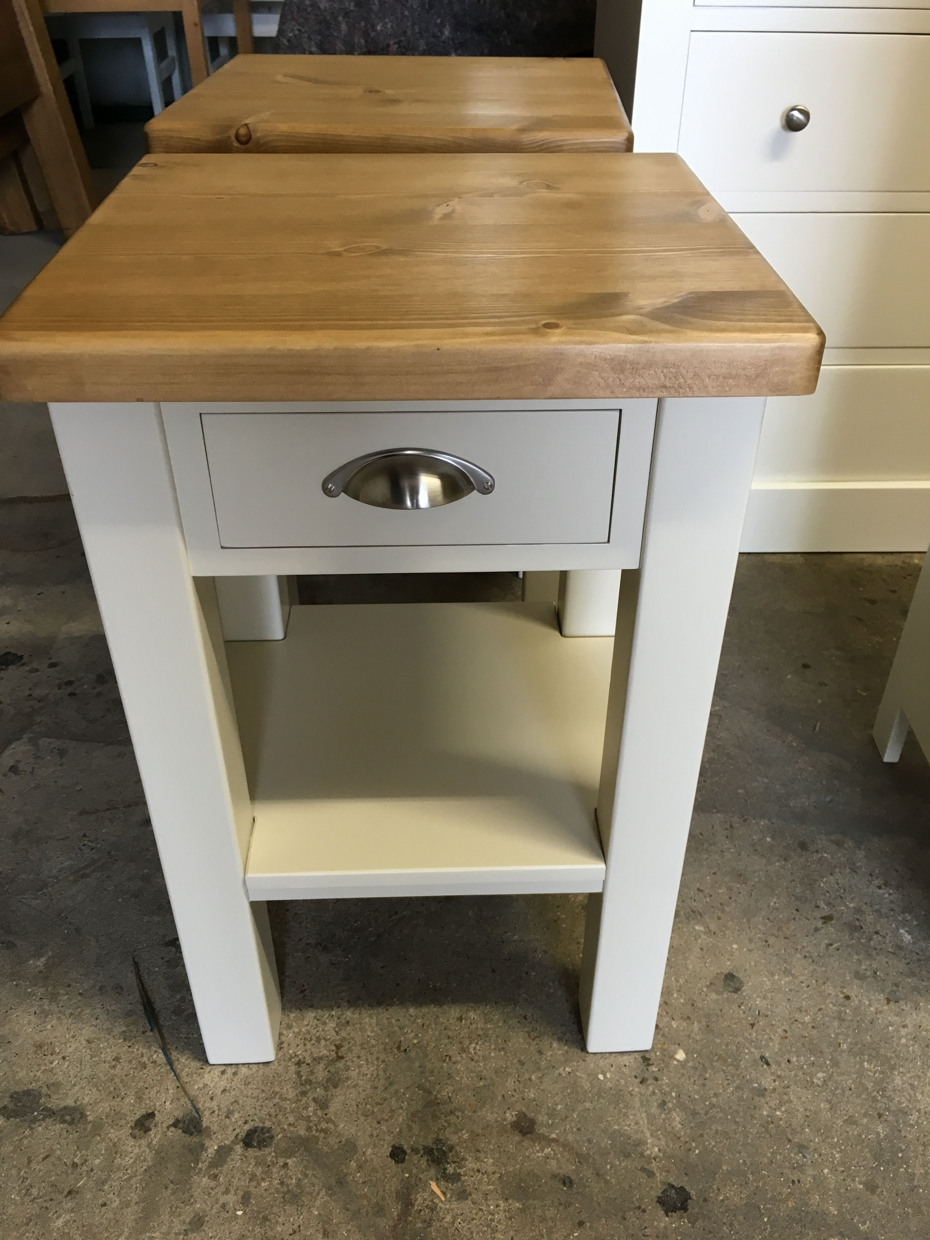 small bedside tables with a chunky smooth pine top designed by a customer made