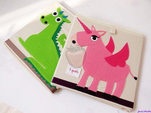 3 Sprouts Storage Box, Set of 2(Pink Unicorn & Green Dragon):Amazon:Baby