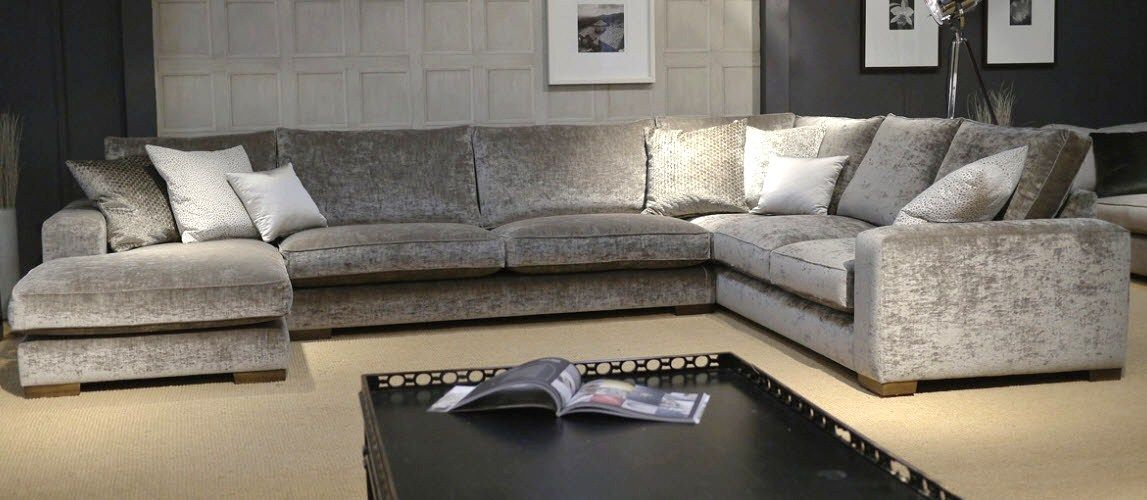 Beau Gatsby Modular Sofa Upholstered In Modena Velvet Colour U0027cloudu0027