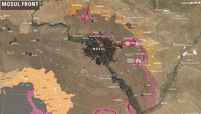 Map Mosul Nineveh Plains military situation 26