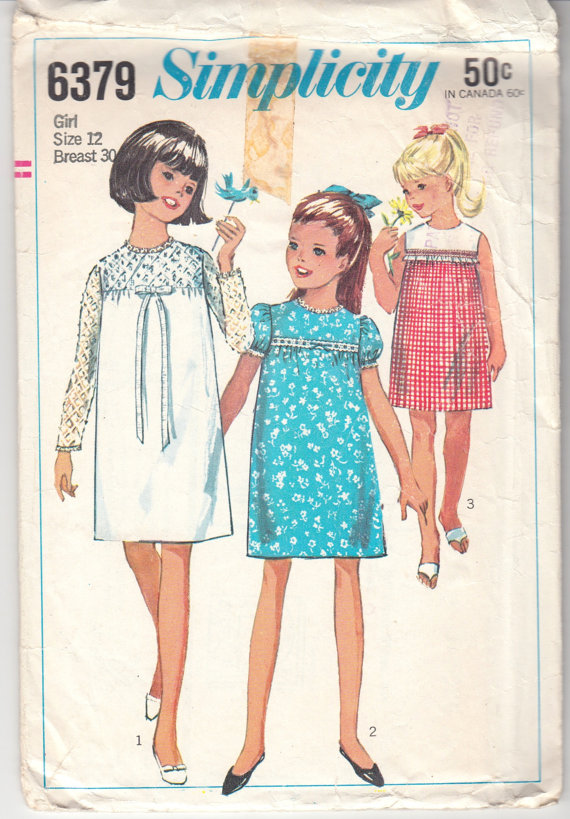 1960s Vintage Sewing Pattern Girls\' Dress Simplicity 6379 30\