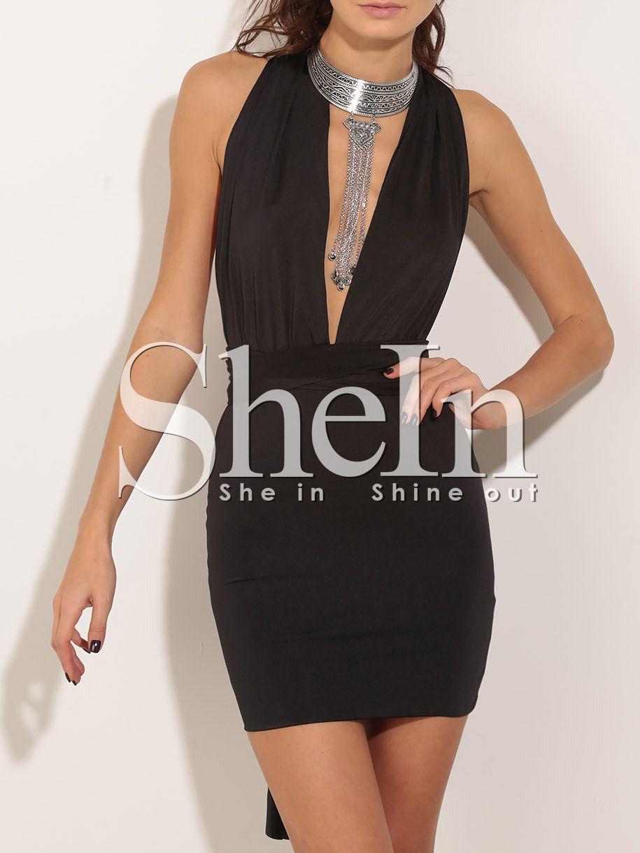 Black Deep V Neck Bodycon Dress Shein Sheinside Neck Bodycon Dress Multi Way Dress Bodycon Dress [ 1220 x 915 Pixel ]
