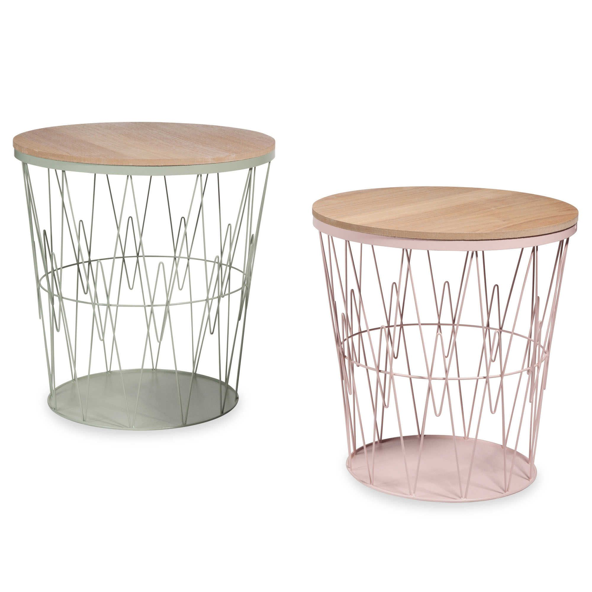 SINALOA 2 green and pink metal wire side tables