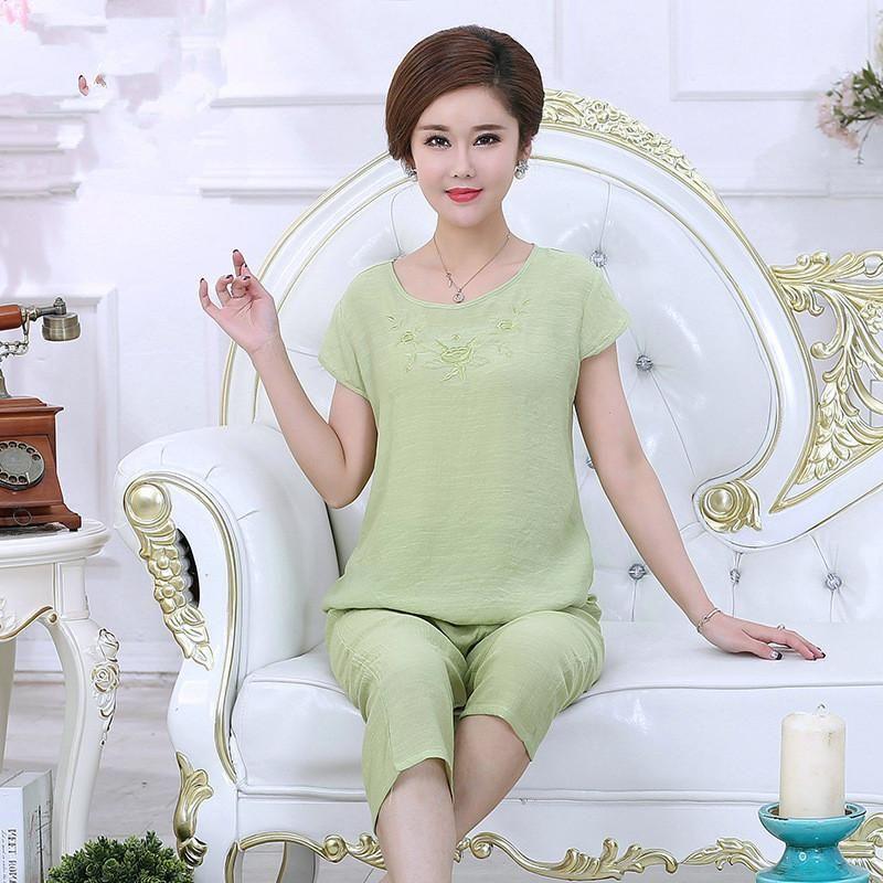 2019 New Print Female Pajamas Set Sleepwear Chinese Women Cotton Linen  Pyjamas Suit Flower Nightwear Plus size XL XXL XXXL 4XL. Yesterday s price   US  18.00 ... 96b4b3e046