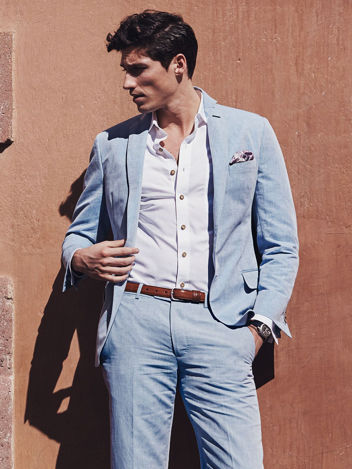 Blue chambray linen suit great for weddings and hot summer days